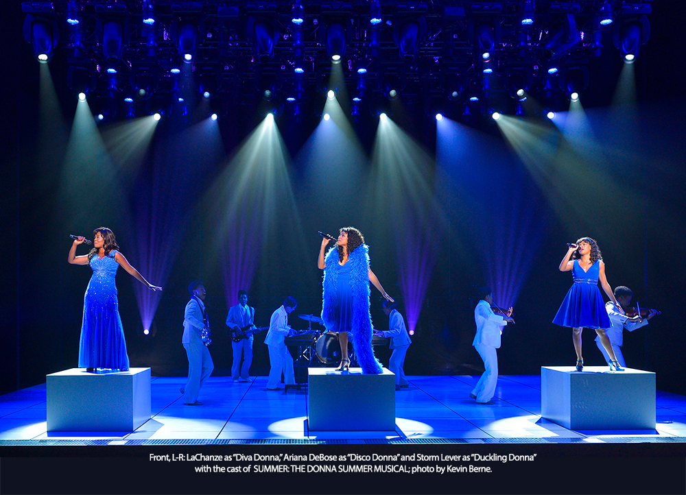 LaChanze, Ariana DeBose and Storm Lever with the cast of SUMMER: THE DONNA SUMMER MUSICAL; photo by Kevin Berne.