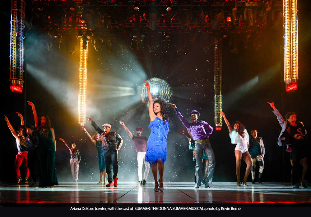 Ariana DeBose with the cast of SUMMER: THE DONNA SUMMER MUSICAL; photo by Kevin Berne.