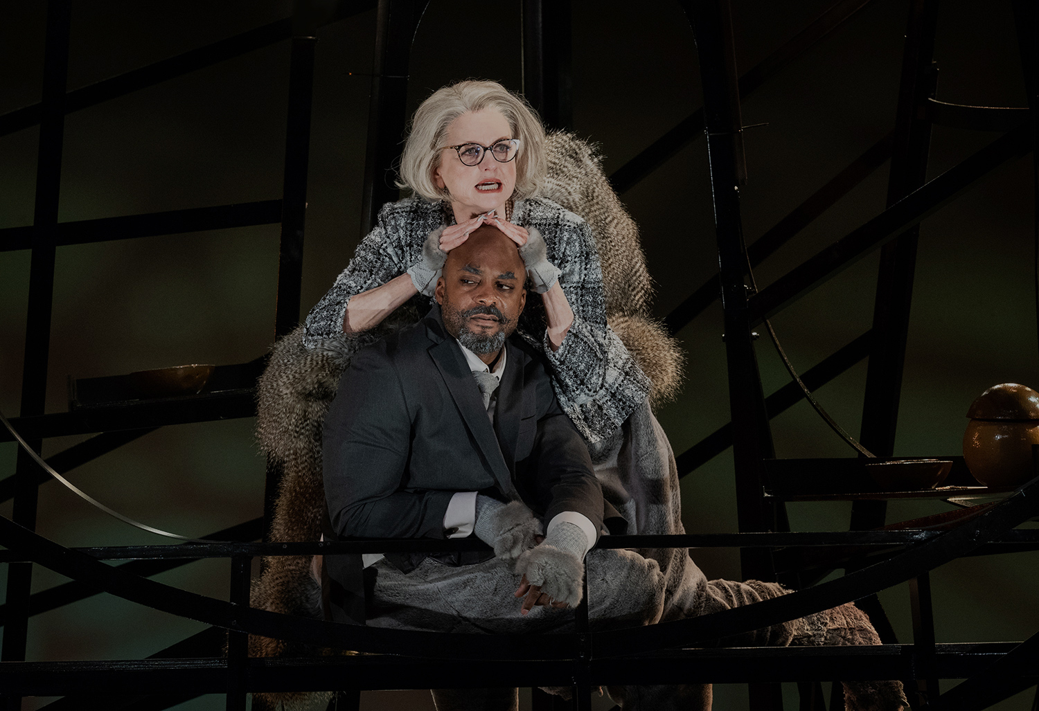Candy Buckley and Terence Archie in THE SQUIRRELS; photo by Jim Carmody.