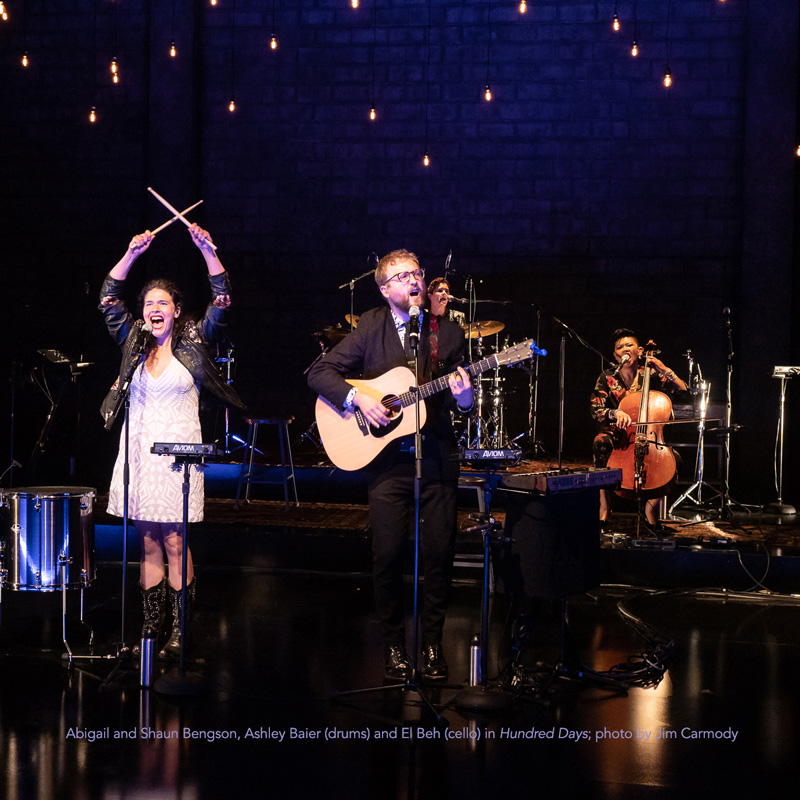 Abigail and Shaun Bengson, Ashley Baier (drums) and El Beh (cello) in La Jolla Playhouse's Hundred Days; photo by Jim Carmody