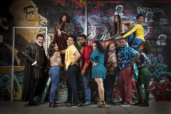 The cast of Kiss My Aztec! Photo by Cheshire Isaacs/Berkeley Repertory Theatre.