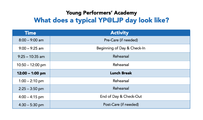 Young Performers' Academy schedule