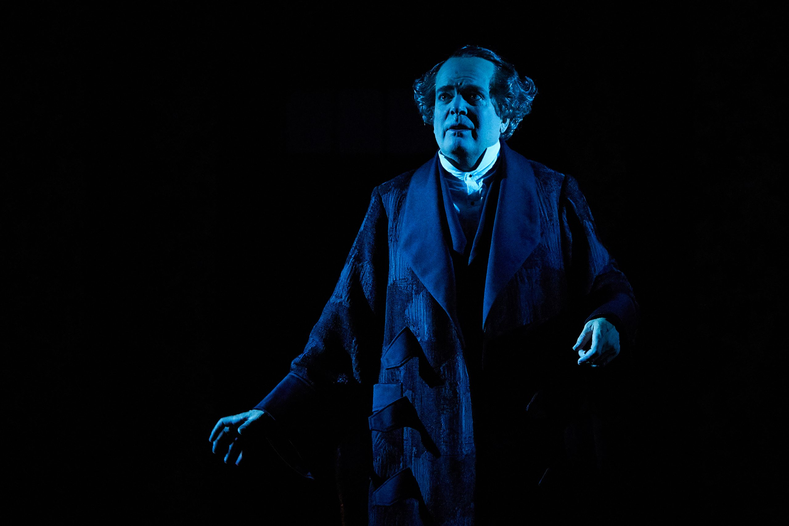 Tony Award winner Jefferson Mays in Charles Dickens' A CHRISTMAS CAROL, directed by Michael Arden, adapted by Mays, Susan Lyons, and Arden, and conceived by Arden and Tony Award nominee Dane Laffrey, streaming November 28 – January 3; photo by Chris Whitaker.