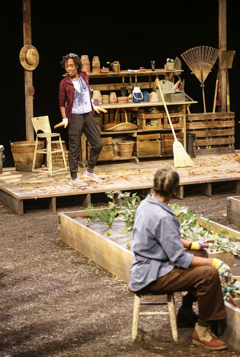 "Actresses Charlayne Woodard, left, and Stephanie Berry rehearse a scene for ""The Garden"" at La Jolla Playhouse. (Eduardo Contreras/The San Diego Union-Tribune)"