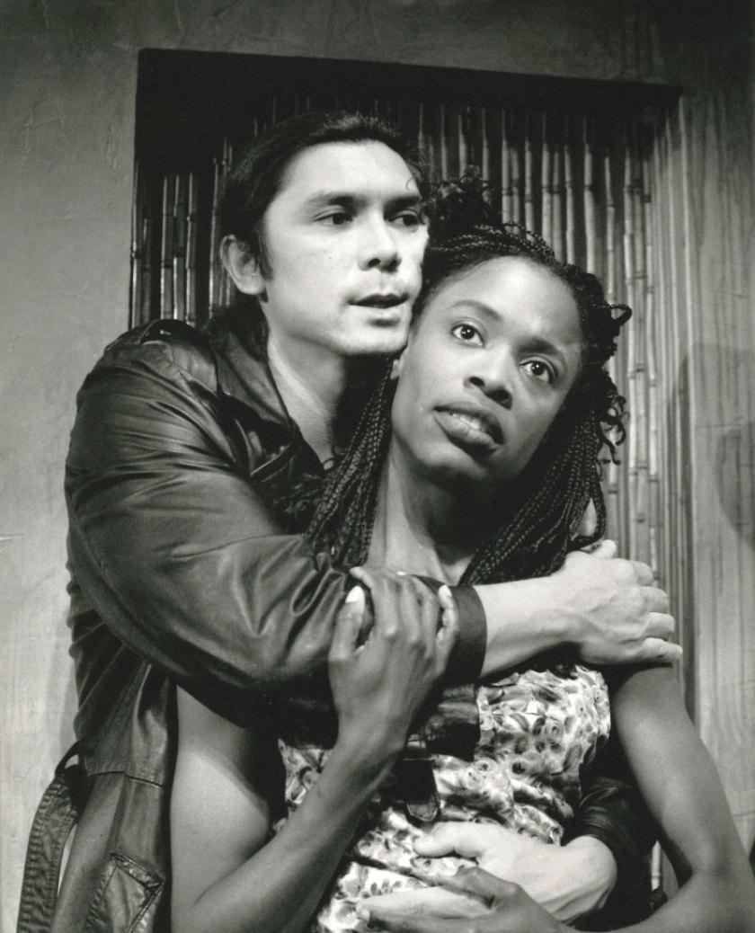 "Charlayne Woodard, right, with Lou Diamond Phillips in La Jolla Playhouse's ""The Good Person of Setzuan"" in 1994. (La Jolla Playhouse)"