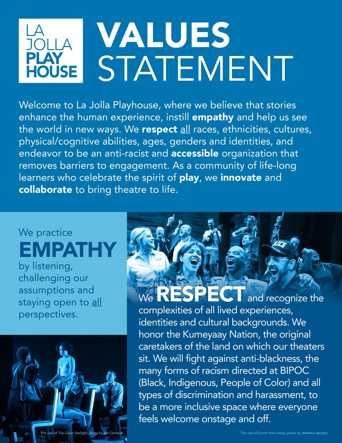 La Jolla Playhouse Values Statement page 1