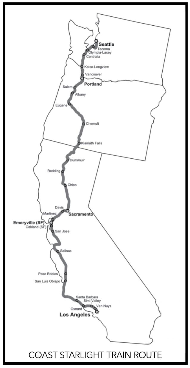 The Coast Starlight train route
