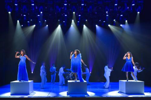 """Front, L-R: LaChanze as """"Diva Donna,"""" Ariana DeBose as """"Disco Donna"""" and Storm Lever as """"Duckling Donna"""" with the cast of La Jolla Playhouse's world premiere of SUMMER: THE DONNA SUMMER MUSICAL; photo by Kevin Berne."""